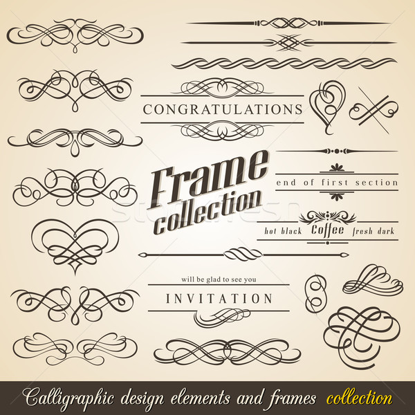 Stock fotó: Calligraphic Design Elements and Frames