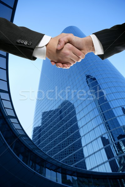 Stock fotó: Businessman partners shaking hands with suit