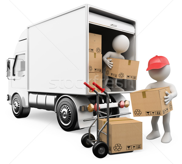 Stock fotó: 3D white people. Workers unloading boxes from a truck